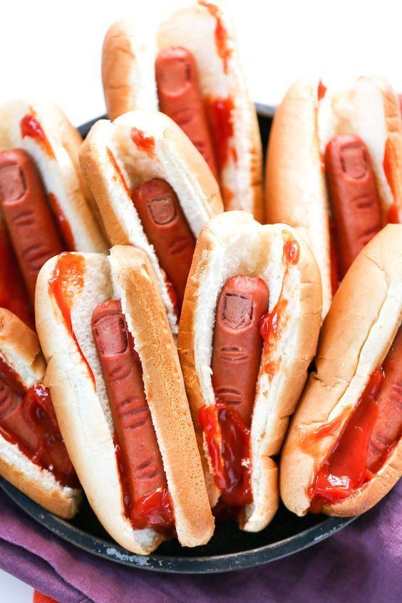 comida para Halloween Perritos dedos