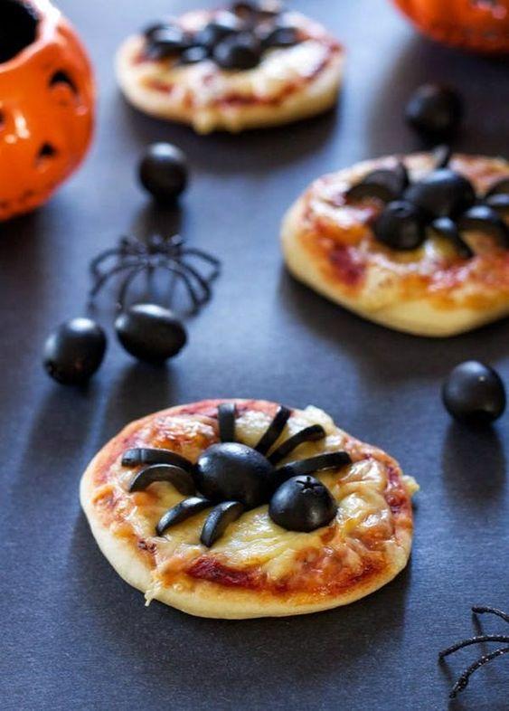 comida para Halloween pizzeta araña